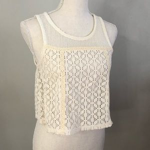 Free People Lace Ivory Crop Top